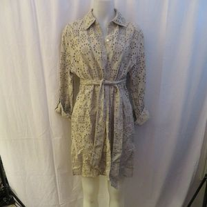 BLOOMINGDALE'S TAN LINEN CROCHETED BELTED TUNIC 1X